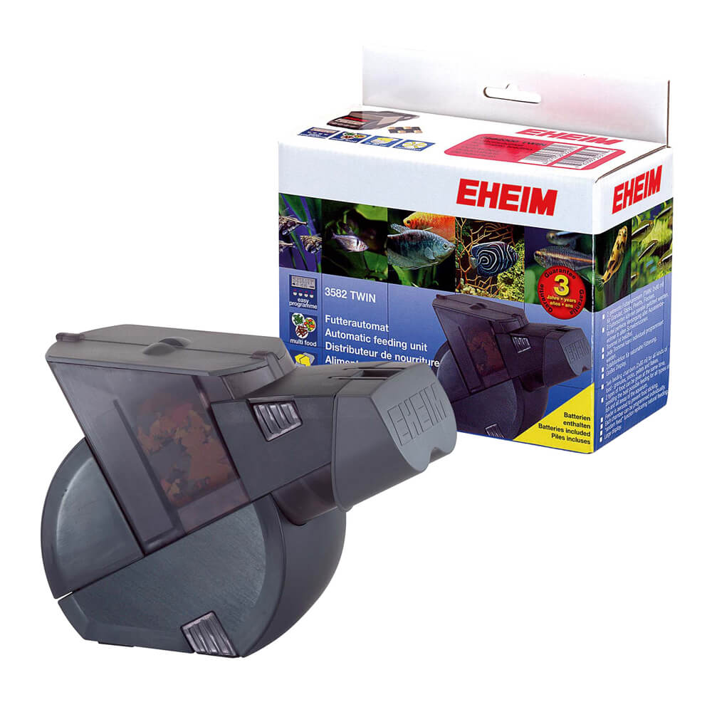 Twin automatic feeder battery operated for Eheim battery operated auto fish feeder