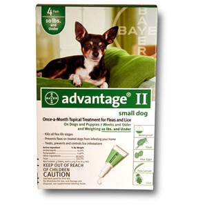 Advantage® II Small Dog, 0-10 lbs, 4 Pack Green