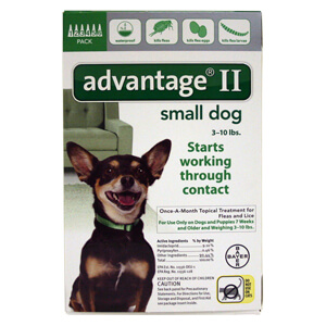 Advantage II Small Dogs 3-10 lbs, 6 Pack, Green