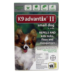 K9 Advantix II, Small Dog, 4-10 lbs, 6 pk, Green