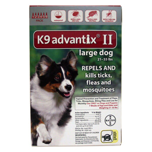 K9 Advantix II, Large Dog, 21-55 lbs, 6 pk, Red