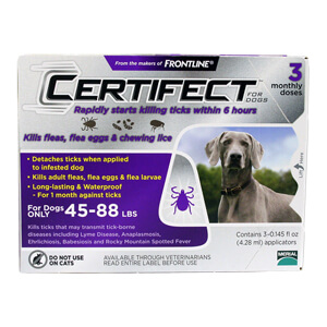 Certifect for Dogs, 45-88 lbs, 3 Month (Purple)