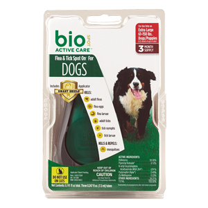Bio Spot Active Care Flea & Tick Spot On, Extra Large Dog, 3 Mo Supply