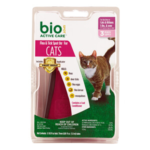 Bio Spot Active Care Flea & Tick Spot On, Cats 5 lbs+, 3 Mo Supply