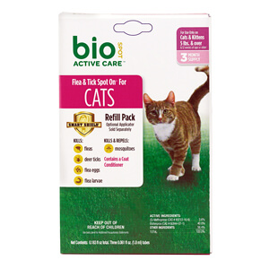 Bio Spot Active Care Flea & Tick Spot On Refill, Cat 5lbs+, 3 M Supply
