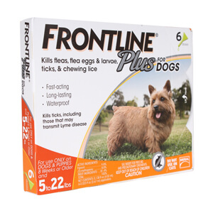 Frontline Plus Flea & Tick Dogs 5-22 lbs, 6 Mo