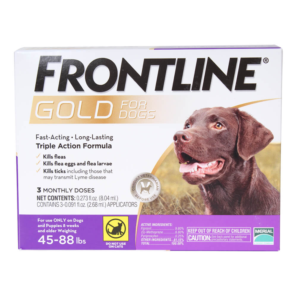 Frontline Gold For Dogs 45 88 Lbs Purple 3 Month