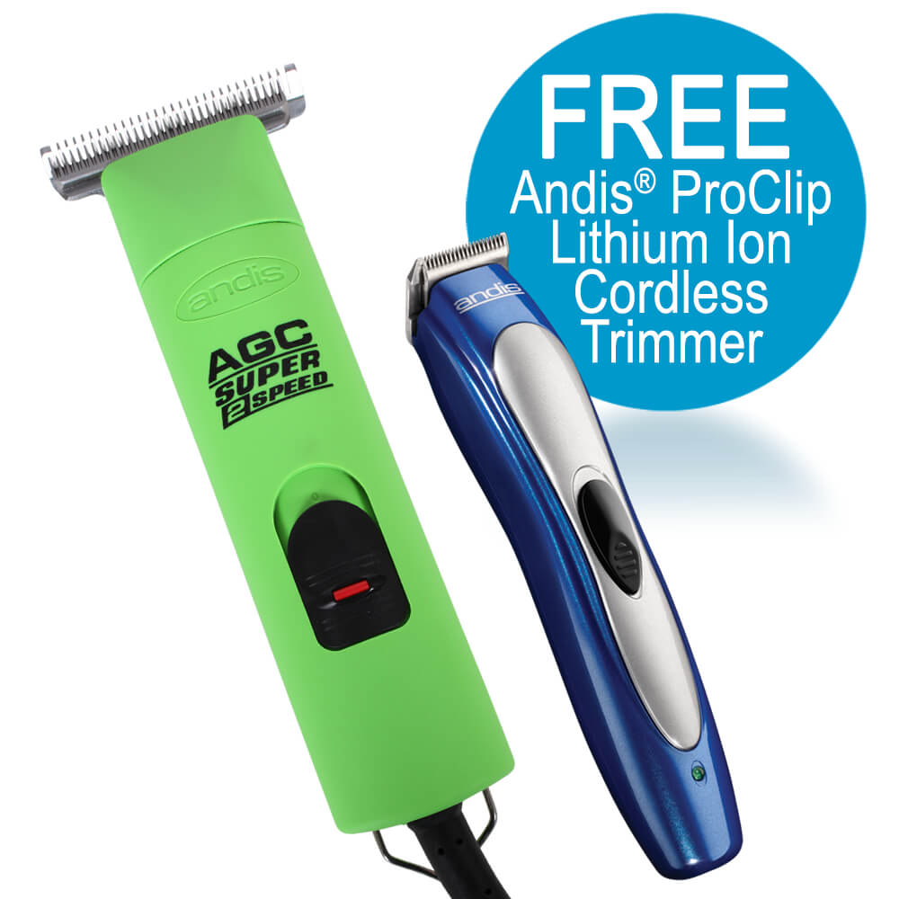 Andis AGC Super 2-Speed, Spring Green, T84 Equine Blade w/ FREE Ion Trimmer