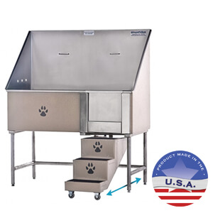 Groomer's Best Elite Bathing Tub with Slide Back Steps