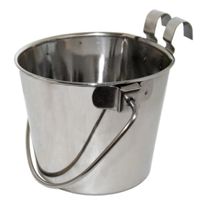 Flat-Sided Stainless Steel Pails with Hook, 9 qt