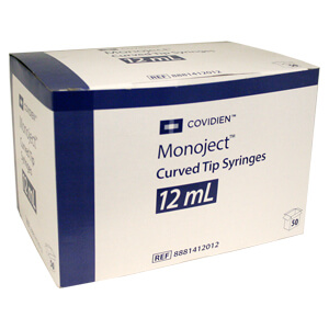 Monoject Syringe, 12cc Curved Tip, 50 Count