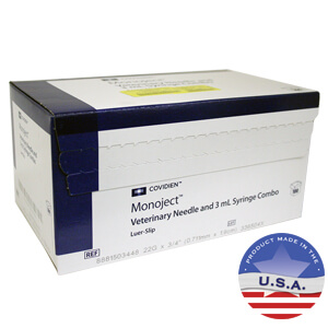 Monoject Syringes with Needles, 3 cc LS with 22g x 3/4