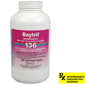 Baytril Rx, Taste Tabs, 136 mg x 200 ct