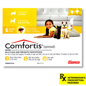 Comfortis Rx, 3.3-4.9 lb Dogs/2-4 lb Cats, 6 Count, Yellow