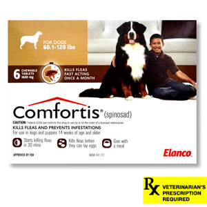 Comfortis Rx, 60.1-120 lb Dogs, 6 Count, Brown