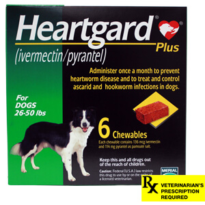 Heartgard Plus Rx, 26-50 lbs, 6 Month (Green)