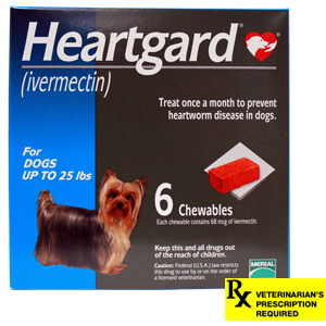 Heartgard Rx for Dogs, Chewables, Up to 25 lbs, 6 Month (Blue)