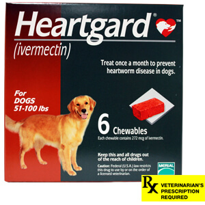 Heartgard Rx for Dogs, Chewables, 51-100 lbs, 6 Month (Red)