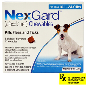 NexGard Rx for Dogs, 10.1-24 lbs, 6 month