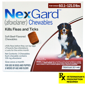 NexGard Rx for Dogs, 60-121.0 lbs, 3 month