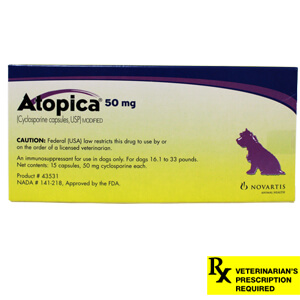 Atopica Rx, Dogs 16.1-33 lbs, 50 mg x 15 ct (Purple)