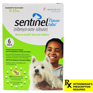 Sentinel Rx, 11-25 lbs, 6 Month (Green)