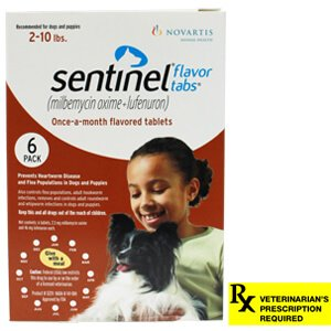 Sentinel Rx, 2-10 lbs, 6 Month (Brown)
