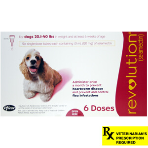 Revolution Rx for Dogs, 20.1-40 lbs, 6 Month (Red)