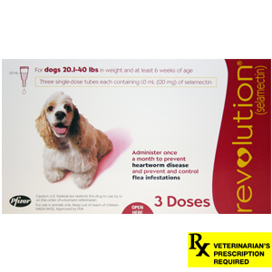 Revolution Rx for Dogs, 20.1-40 lbs, 3 Month (Red)