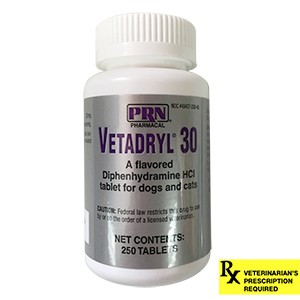Vetadryl 30mg Rx for Dogs and Cats, 250 ct