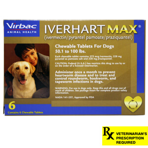 Rx Iverhart Max, Large, 50-100 lbs, 6 Month Supply