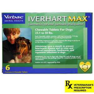 Rx Iverhart Max, Medium, 25-50 lbs, 6 Month Supply