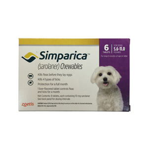 Simparica Rx,  10mg for Dogs 5.6-11 lbs, 6 Chewable Tablets