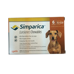 Simparica Rx, 20mg for Dogs 11.1-22 lbs, 6 Chewable Tablets