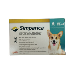 Simparica Rx, 40mg for Dogs 22.1-44 lbs, 6 Chewable Tablets