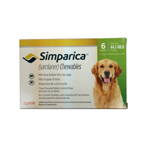 Simparica Rx, 80mg for Dogs 44.1-88 lbs, 6 Chewable Tablets