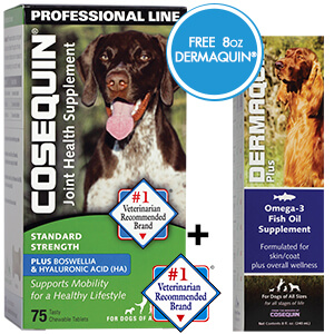 Cosequin Standard Strength Plus Boswellia and Hyaluronic Acid, for Dogs, Professional Line, 75 ct