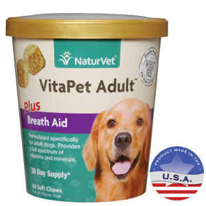 NaturVet VitaPet Adult Plus Breath Aid Soft Chew for Adult Dogs, 60 ct