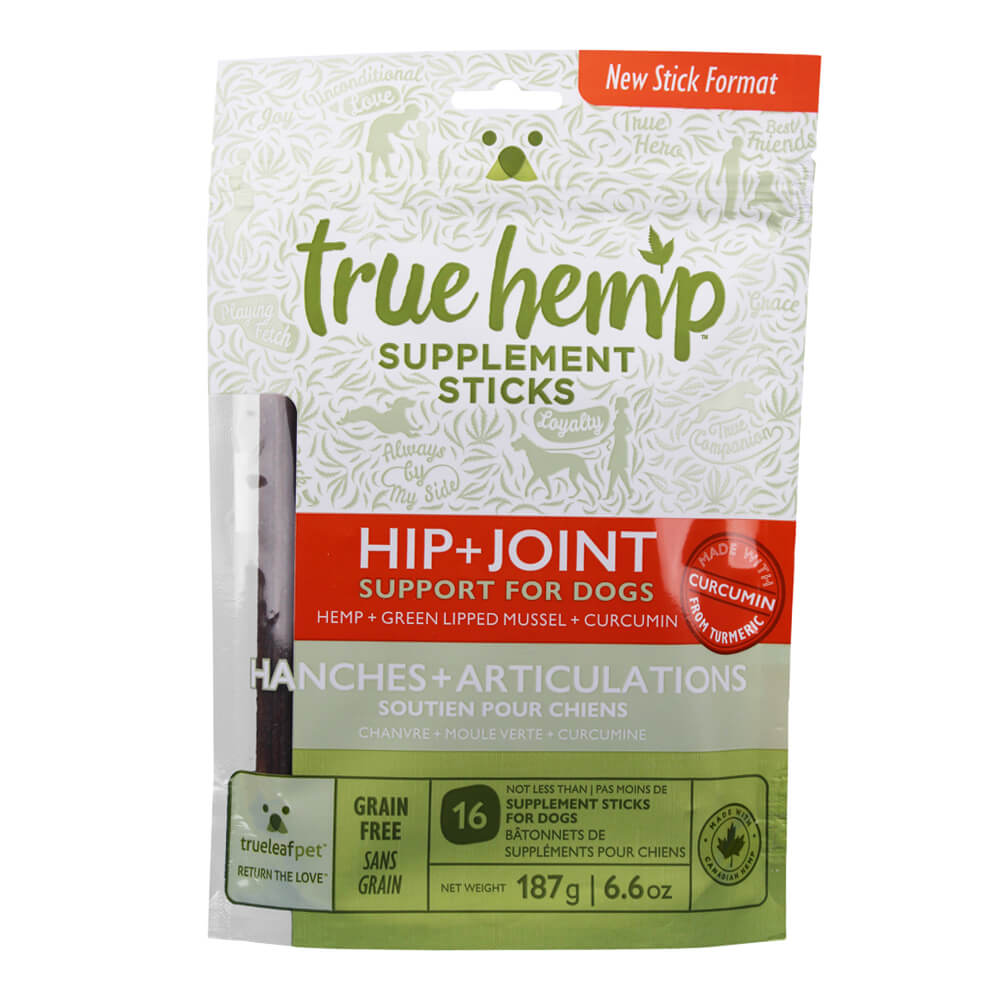 True Hemp Supplement Sticks, Hip + Joint Support for Dogs, 6.6 oz
