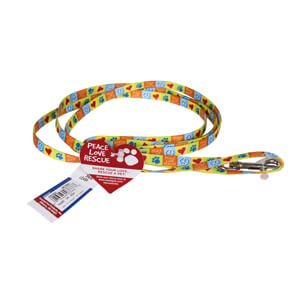 "Pet Attire, Peace Love Rescue, 6' Dog Leash, 3/8"" Wide"