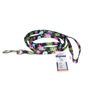 "Pet Attire, Black with Colored Flowers, 6' Dog Leash, 3/8"" Wide"