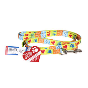 "Pet Attire, Peace Love Rescue, 6' Dog Leash, 5/8"" Wide"