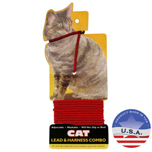 Adjustable Cat Lead & Harness Combo, Red, 4'