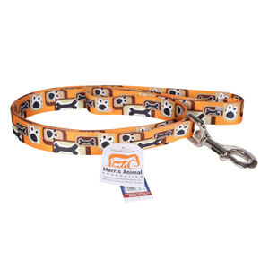"Pet Attire Orange with Paws and Bones 6' Dog Leash 1"" Wide"