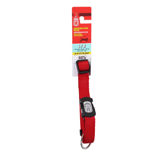 Dogit Adjustable Nylon Collar with Snap for Large Dogs,  Red