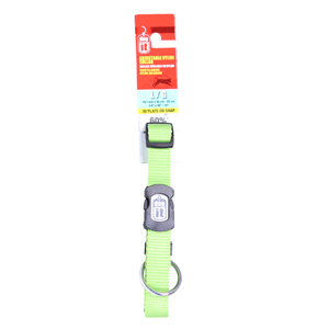 Dogit Adjustable Nylon Collar with Snap for Large Dogs,  Green