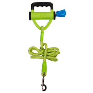 Power Leash Lime with Waste Bag Dispenser, 6'