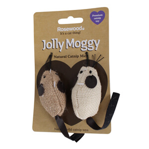 Jolly Moggy Natural Catnip Mice Toy, 2 ct