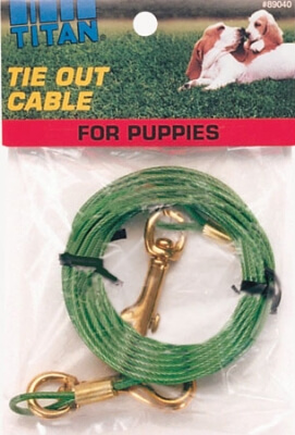 89040 Puppy Tie-Out Cable- Green 12'