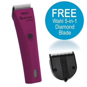 Bravura Lithium Clipper Kit, Berry w/ FREE Wahl 5-in-1 Diamond Blade